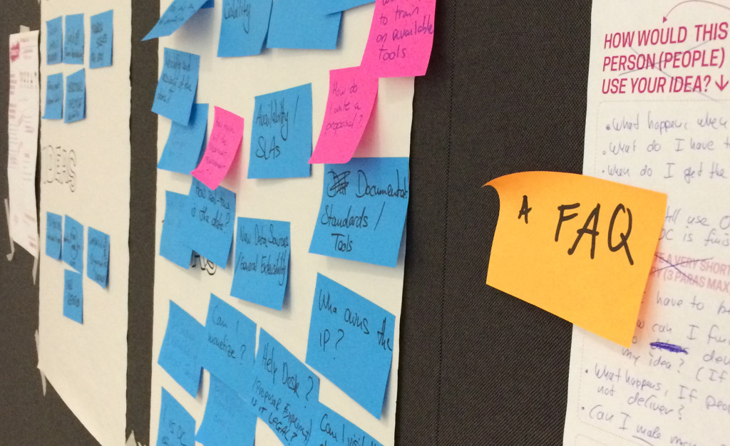 Post its on a wall with FAQ suggested content