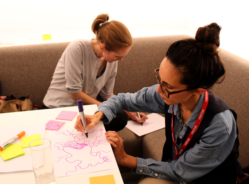 Participants drawing the challenges they find in London