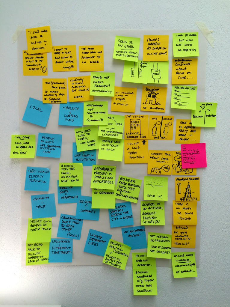 Post its on a wall with perceptions and experiences in the city