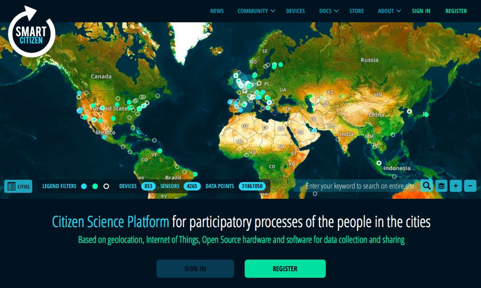 Citizen Science Platform collects the data from Smart Citizen devices around the world. Image by Institute for advanced architecture of Catalonia