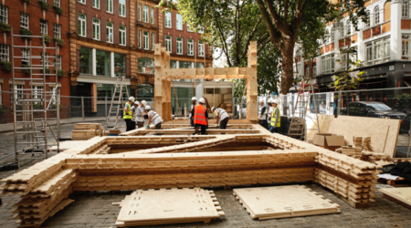 WikiHouse 4.0 installed in the Building Centre for London Design Festival image by Margaux Carron