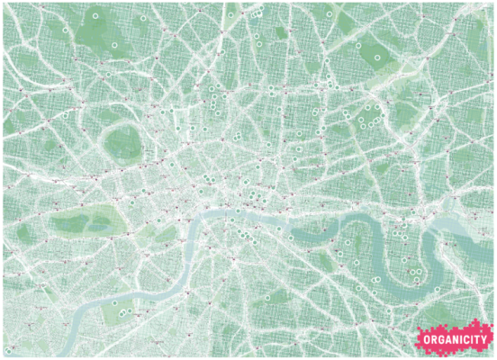 Figure 4: Tranquil Pavement Map with a 'low pollution' index showing zones of low noise and air pollution as well crowd-sourced tranquil spaces locations